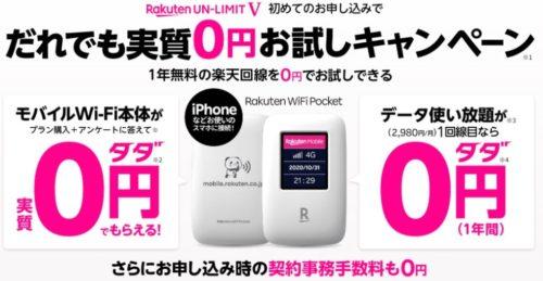 Rakuten WiFi Pocketの月額費用と初期費用